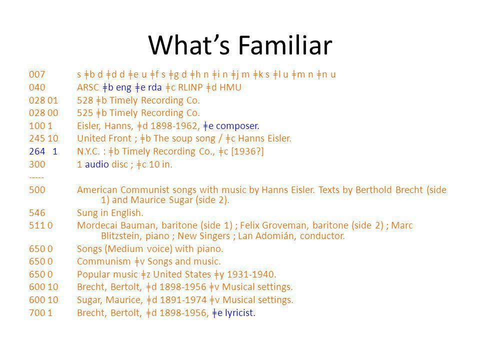 What's Familiar 007 s ǂb d ǂd d ǂe u ǂf s ǂg d ǂh n ǂi n ǂj m ǂk s ǂl u ǂm n ǂn u 040 ARSC ǂb eng ǂe rda ǂc RLINP ǂd HMU 028 01528 ǂb Timely Recording
