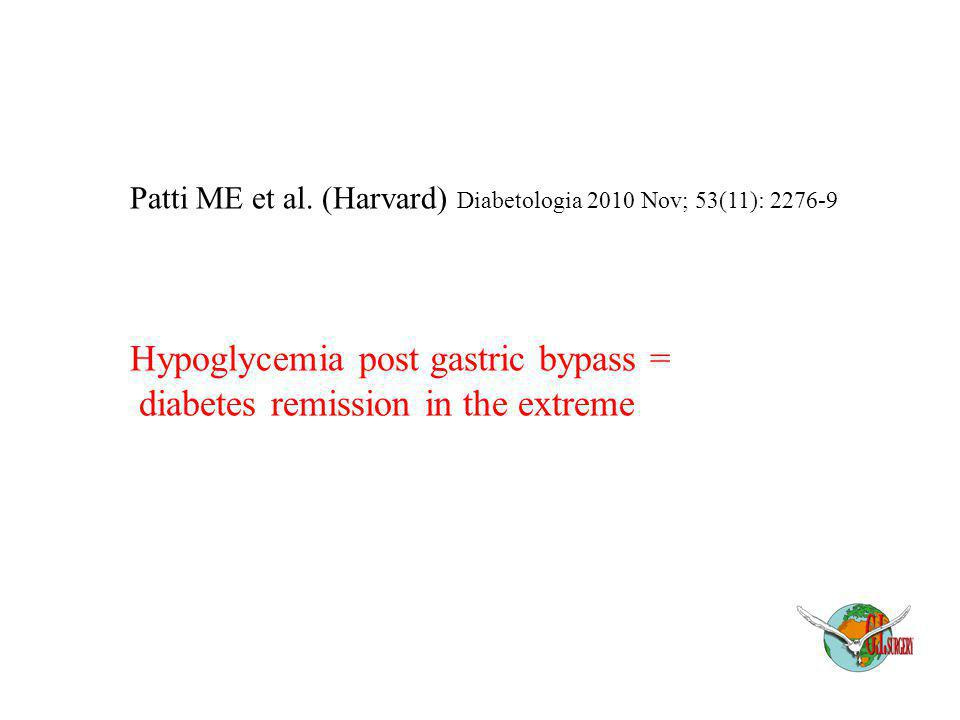 Patti ME et al. (Harvard) Diabetologia 2010 Nov; 53(11): 2276-9 Hypoglycemia post gastric bypass = diabetes remission in the extreme