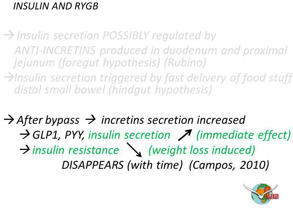 INSULIN AND RYGB  Insulin secretion POSSIBLY regulated by ANTI-INCRETINS produced in duodenum and proximal jejunum (foregut hypothesis) (Rubino)  In