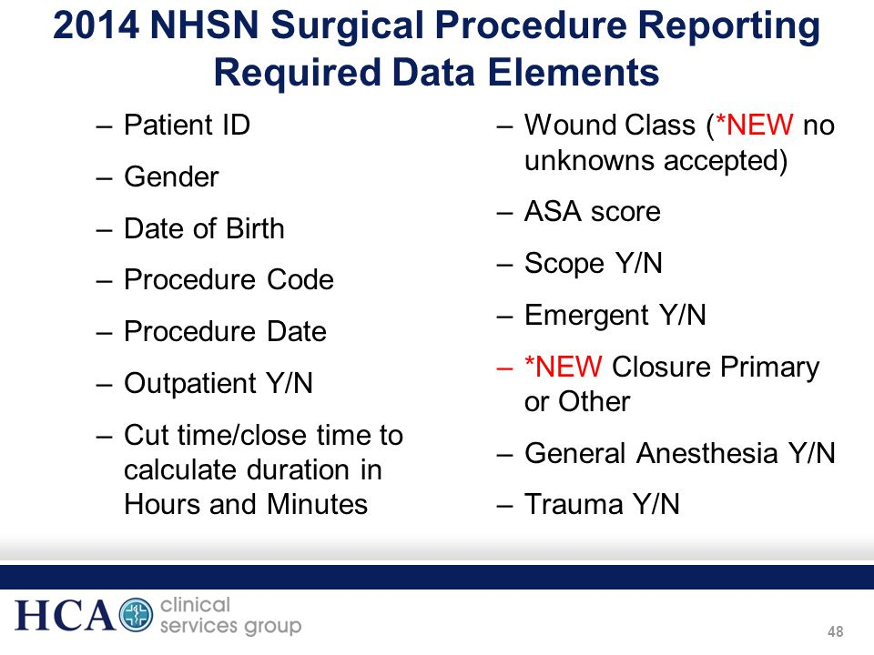 48 2014 NHSN Surgical Procedure Reporting Required Data Elements –Patient ID –Gender –Date of Birth –Procedure Code –Procedure Date –Outpatient Y/N –C