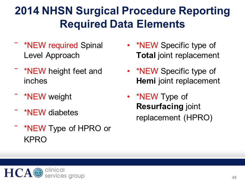 49 2014 NHSN Surgical Procedure Reporting Required Data Elements ‾*NEW required Spinal Level Approach ‾*NEW height feet and inches ‾*NEW weight ‾*NEW
