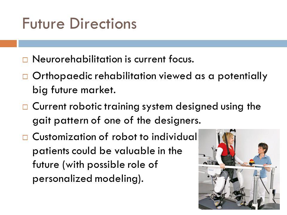 Future Directions  Neurorehabilitation is current focus.