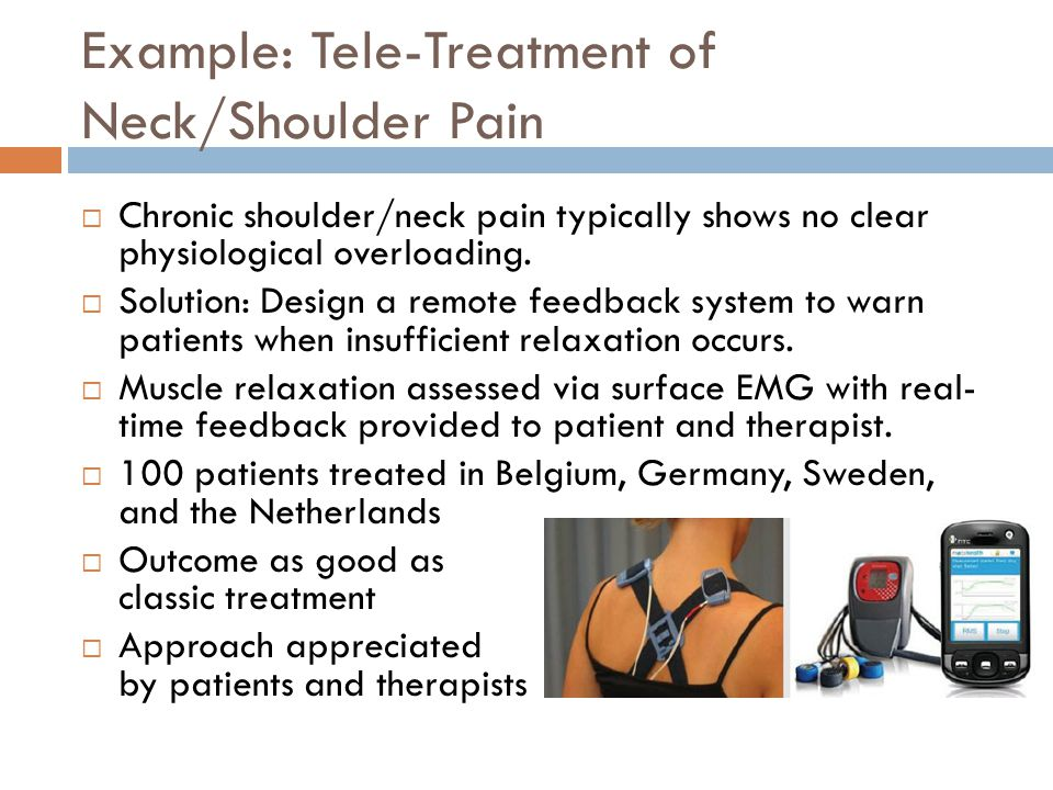 Example: Tele-Treatment of Neck/Shoulder Pain  Chronic shoulder/neck pain typically shows no clear physiological overloading.