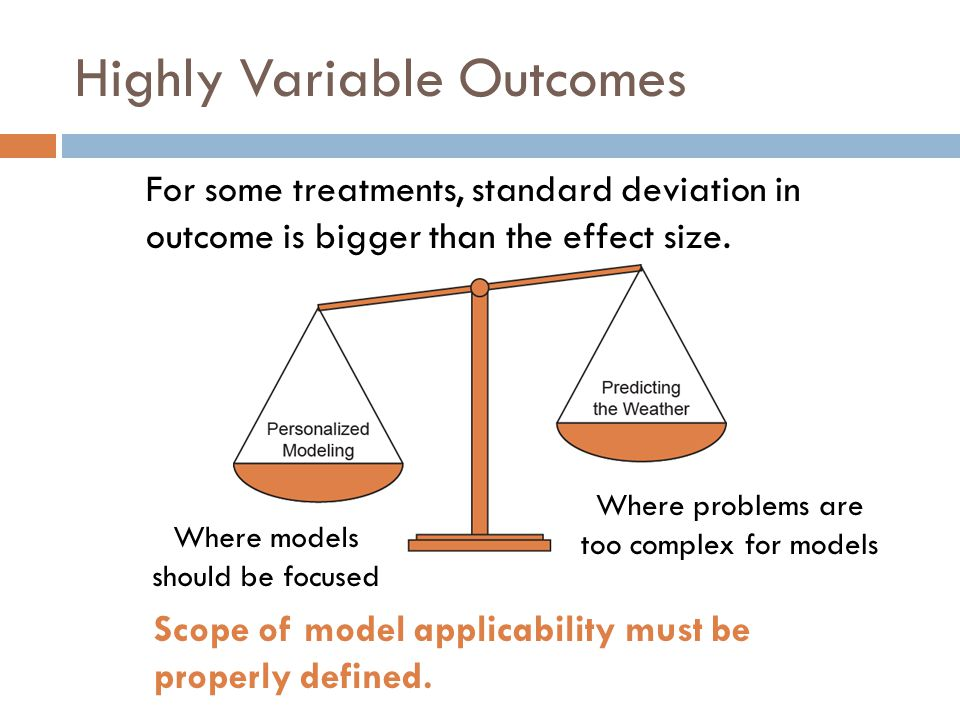 Highly Variable Outcomes For some treatments, standard deviation in outcome is bigger than the effect size.