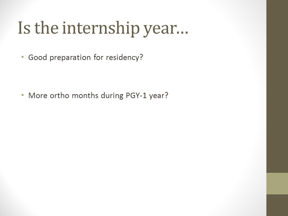 Is the internship year… Good preparation for residency? More ortho months during PGY-1 year?