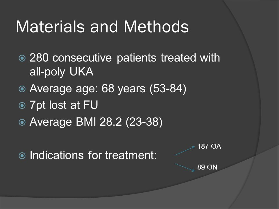 Materials and Methods  280 consecutive patients treated with all-poly UKA  Average age: 68 years (53-84)  7pt lost at FU  Average BMI 28.2 (23-38)