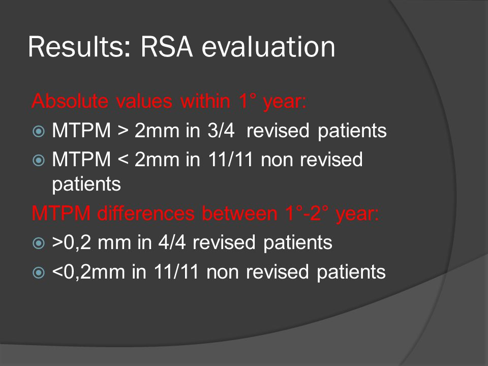 Absolute values within 1° year:  MTPM > 2mm in 3/4 revised patients  MTPM < 2mm in 11/11 non revised patients MTPM differences between 1°-2° year:  >0,2 mm in 4/4 revised patients  <0,2mm in 11/11 non revised patients