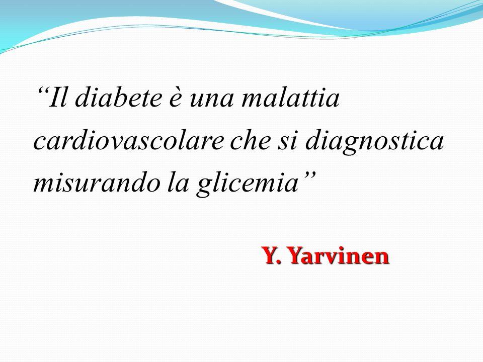 Diabete 2-4 volte rischio di CAD 2-4 volte rischio di PAD 3 volte rischio di ictus Prima causa di cecità Prima causa di IRC 2 volte mortalità per IMA