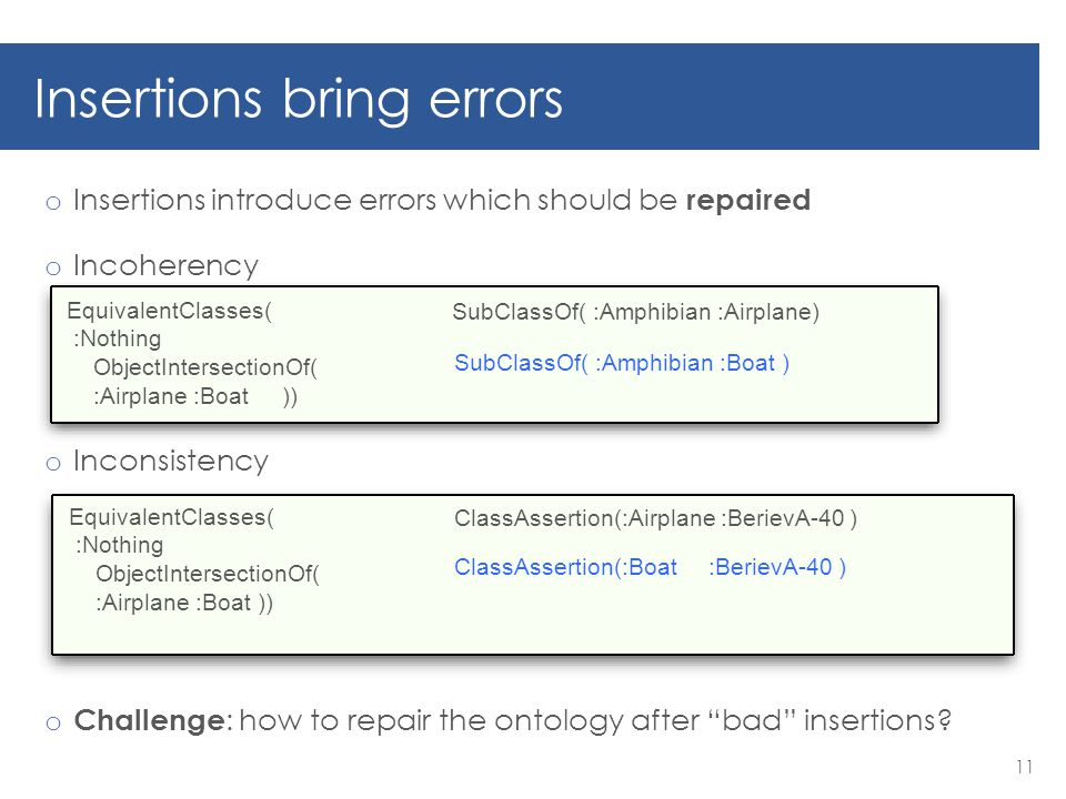 Insertions bring errors o Insertions introduce errors which should be repaired o Incoherency o Inconsistency o Challenge : how to repair the ontology after bad insertions.