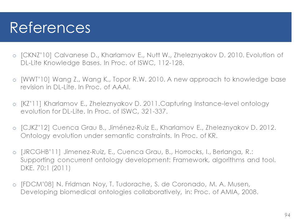 References o [CKNZ'10] Calvanese D., Kharlamov E., Nutt W., Zheleznyakov D.