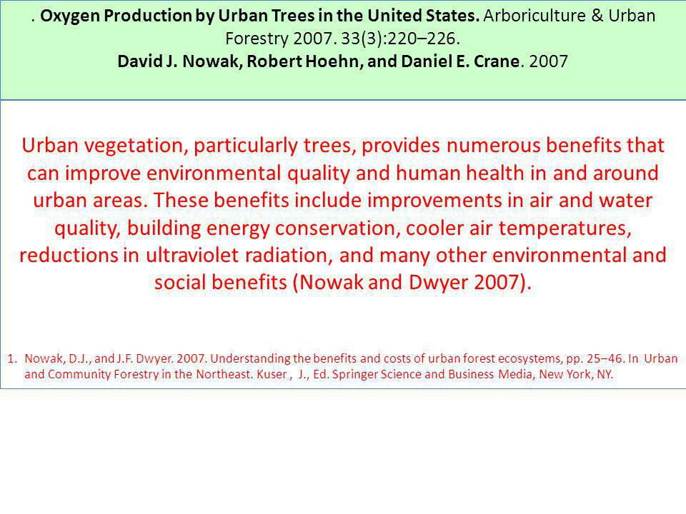 . Oxygen Production by Urban Trees in the United States. Arboriculture & Urban Forestry 2007. 33(3):220–226. David J. Nowak, Robert Hoehn, and Daniel