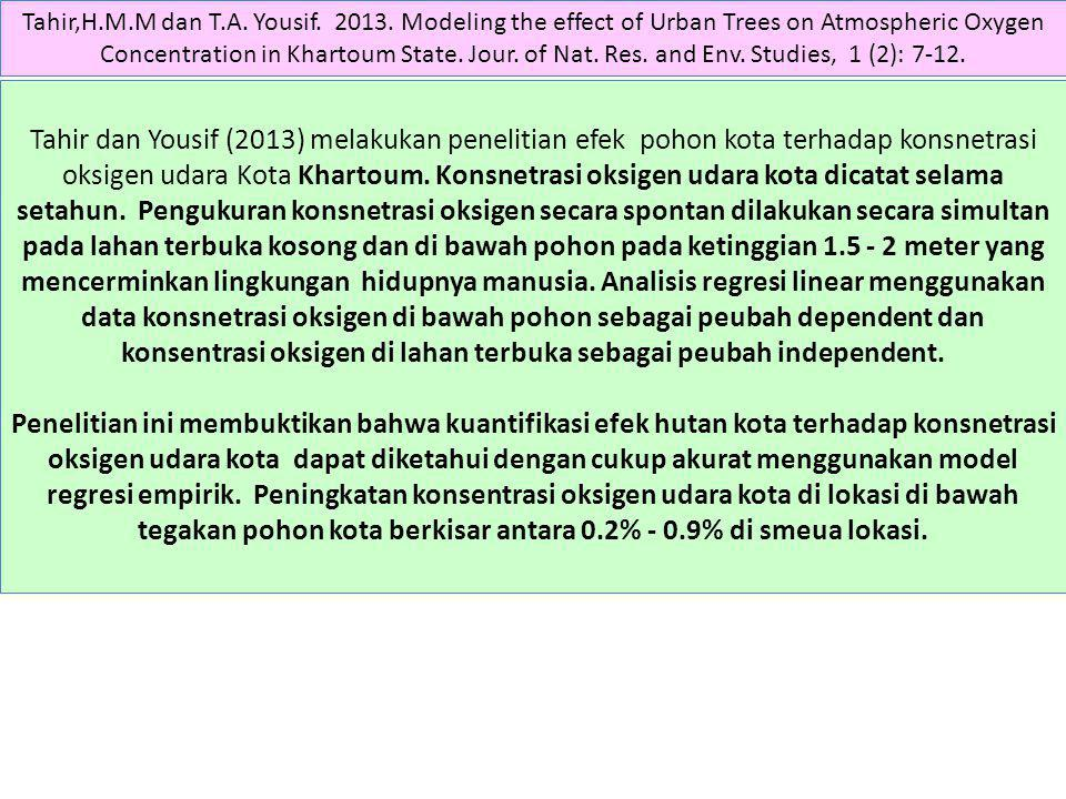 Tahir,H.M.M dan T.A. Yousif. 2013. Modeling the effect of Urban Trees on Atmospheric Oxygen Concentration in Khartoum State. Jour. of Nat. Res. and En