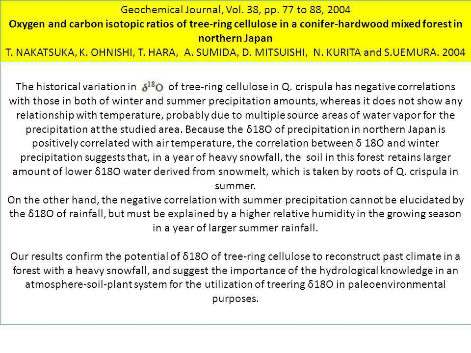 Geochemical Journal, Vol. 38, pp. 77 to 88, 2004 Oxygen and carbon isotopic ratios of tree-ring cellulose in a conifer-hardwood mixed forest in northe