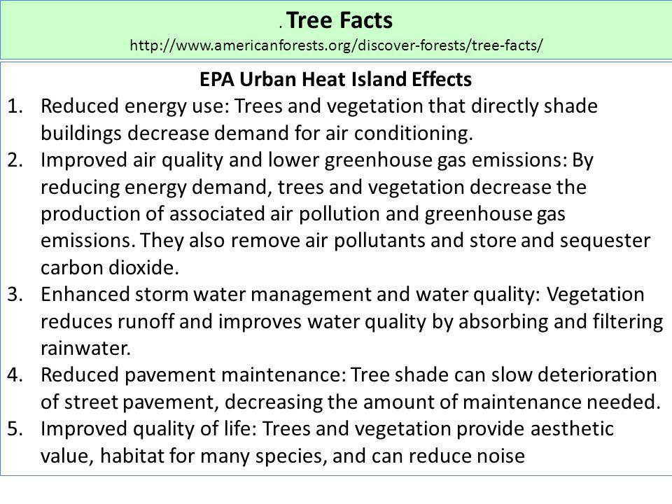 . Tree Facts http://www.americanforests.org/discover-forests/tree-facts/ EPA Urban Heat Island Effects 1.Reduced energy use: Trees and vegetation that