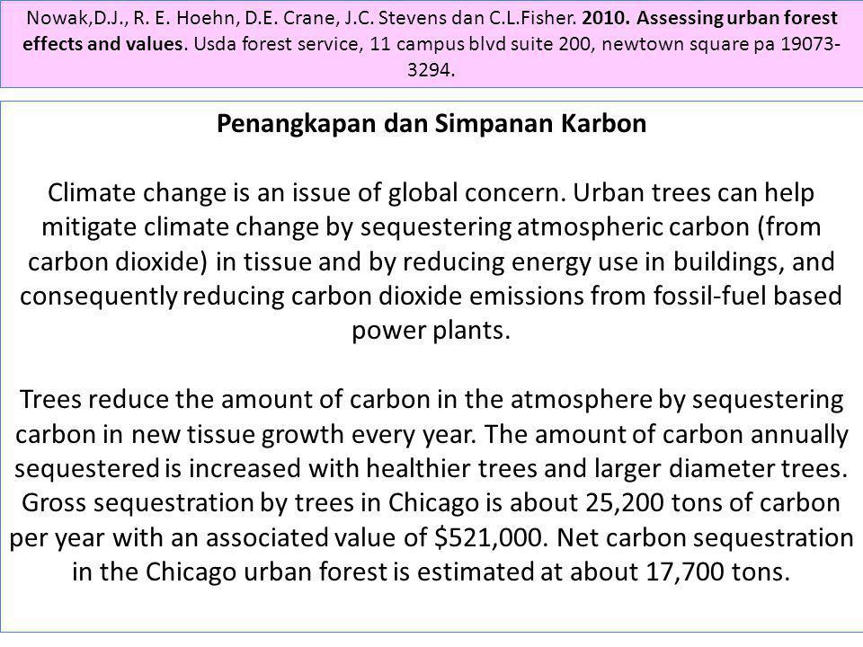 Penangkapan dan Simpanan Karbon Climate change is an issue of global concern. Urban trees can help mitigate climate change by sequestering atmospheric