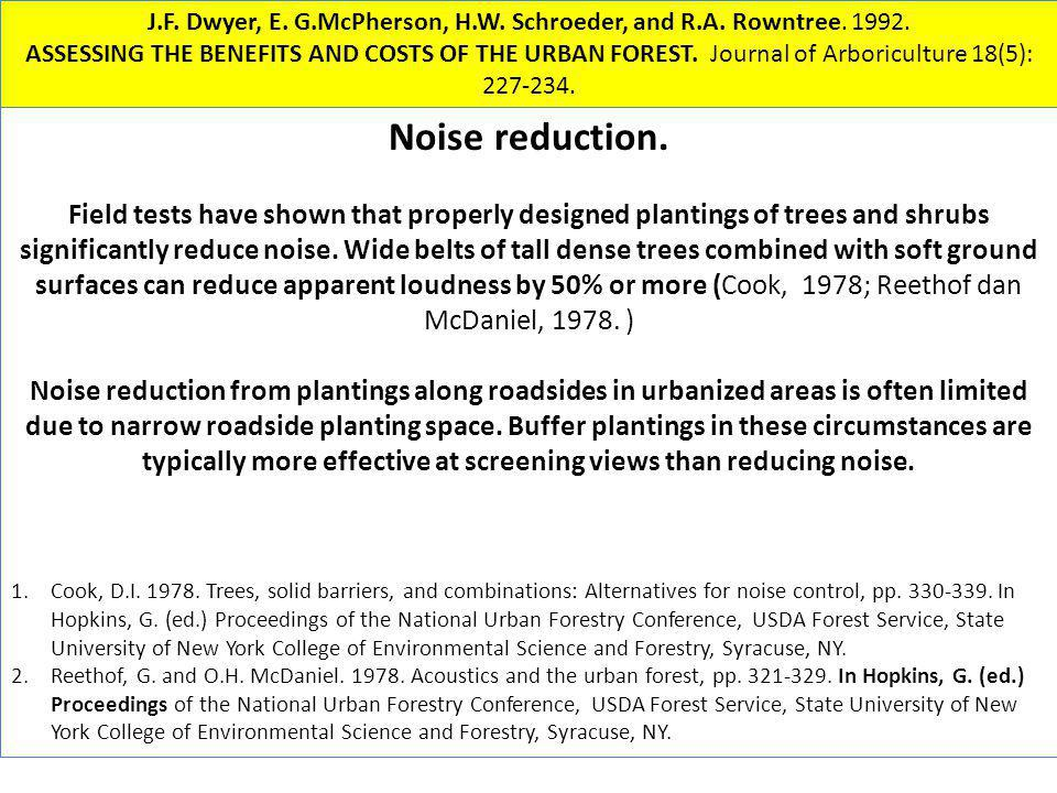 Noise reduction. Field tests have shown that properly designed plantings of trees and shrubs significantly reduce noise. Wide belts of tall dense tree