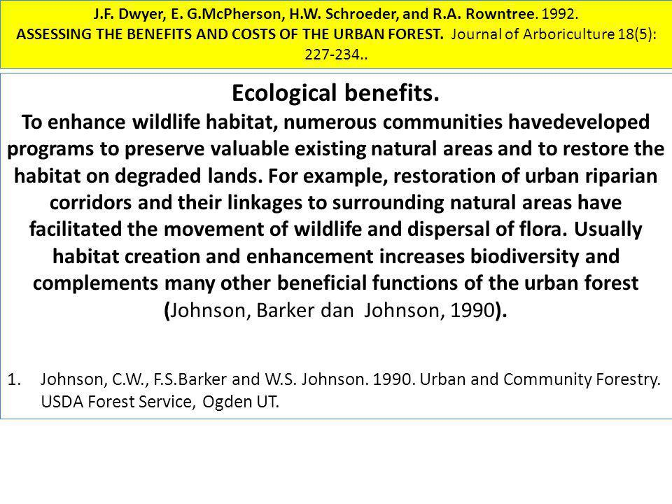 J.F. Dwyer, E. G.McPherson, H.W. Schroeder, and R.A. Rowntree. 1992. ASSESSING THE BENEFITS AND COSTS OF THE URBAN FOREST. Journal of Arboriculture 18