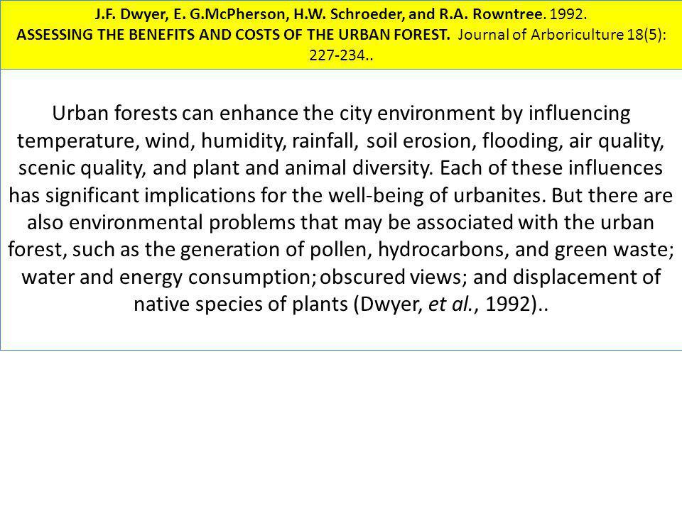 Urban forests can enhance the city environment by influencing temperature, wind, humidity, rainfall, soil erosion, flooding, air quality, scenic quali