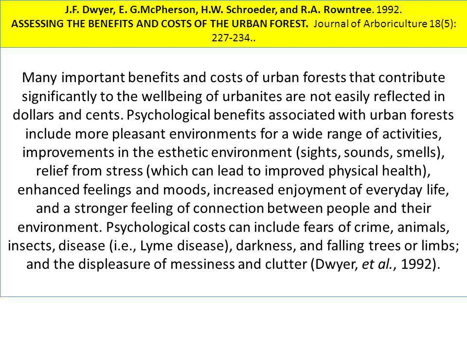 Many important benefits and costs of urban forests that contribute significantly to the wellbeing of urbanites are not easily reflected in dollars and