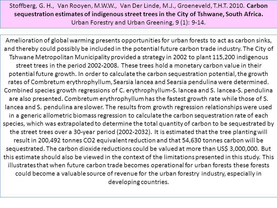 Stoffberg, G. H., Van Rooyen, M.W.W., Van Der Linde, M.J., Groeneveld, T.H.T. 2010. Carbon sequestration estimates of indigenous street trees in the C