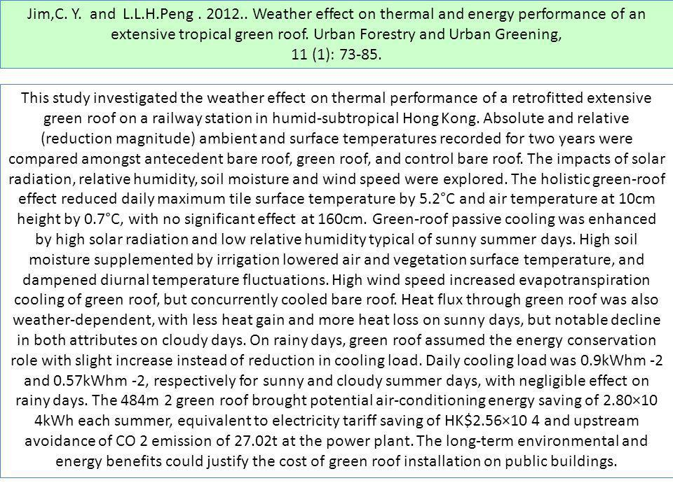 Jim,C. Y. and L.L.H.Peng. 2012.. Weather effect on thermal and energy performance of an extensive tropical green roof. Urban Forestry and Urban Greeni