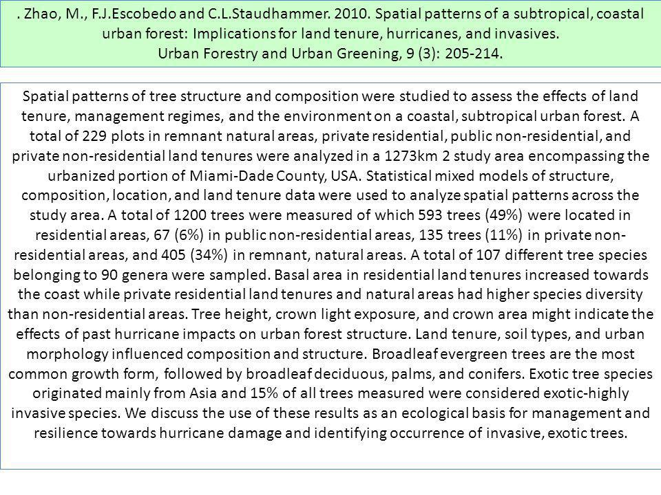 . Zhao, M., F.J.Escobedo and C.L.Staudhammer. 2010. Spatial patterns of a subtropical, coastal urban forest: Implications for land tenure, hurricanes,