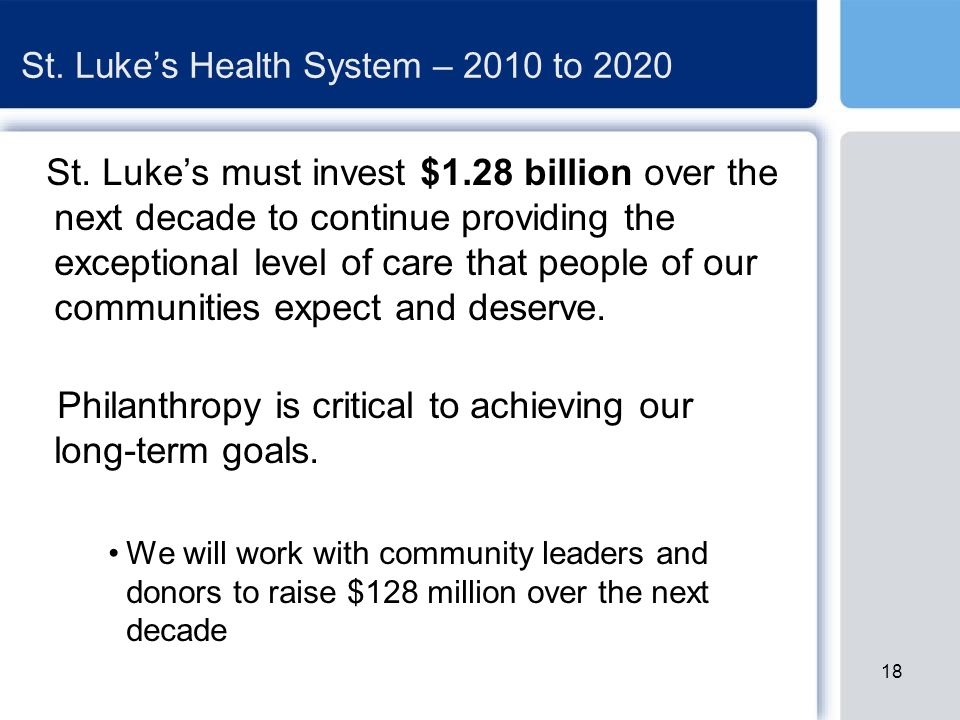 St. Luke's Health System – 2010 to 2020 St.