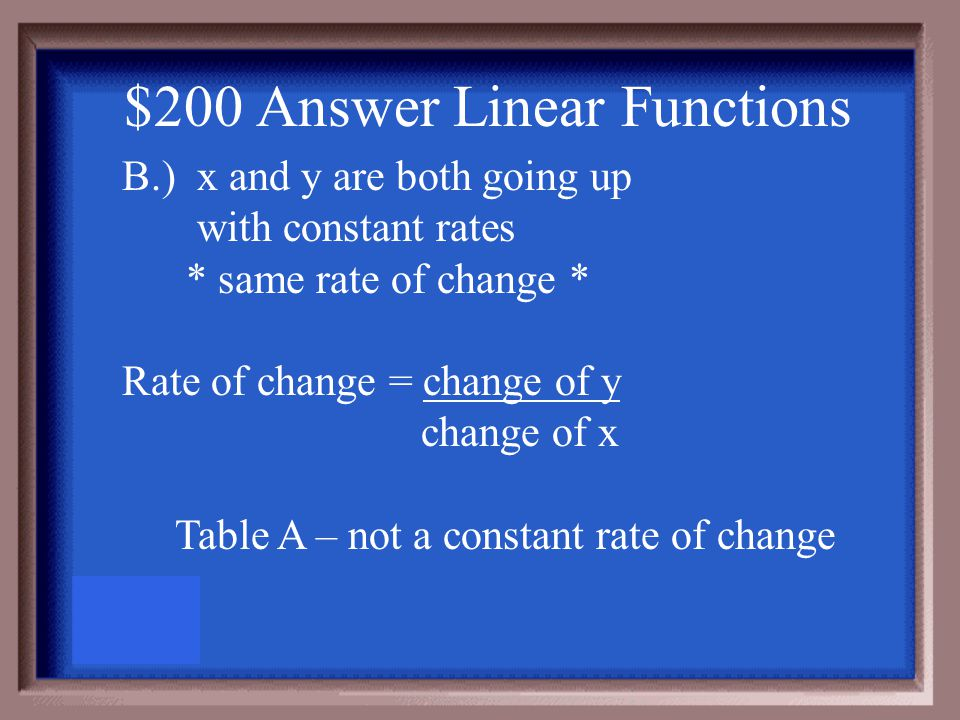 $200 Question Linear Functions Which table(s) are linear Explain how you know. A. B.