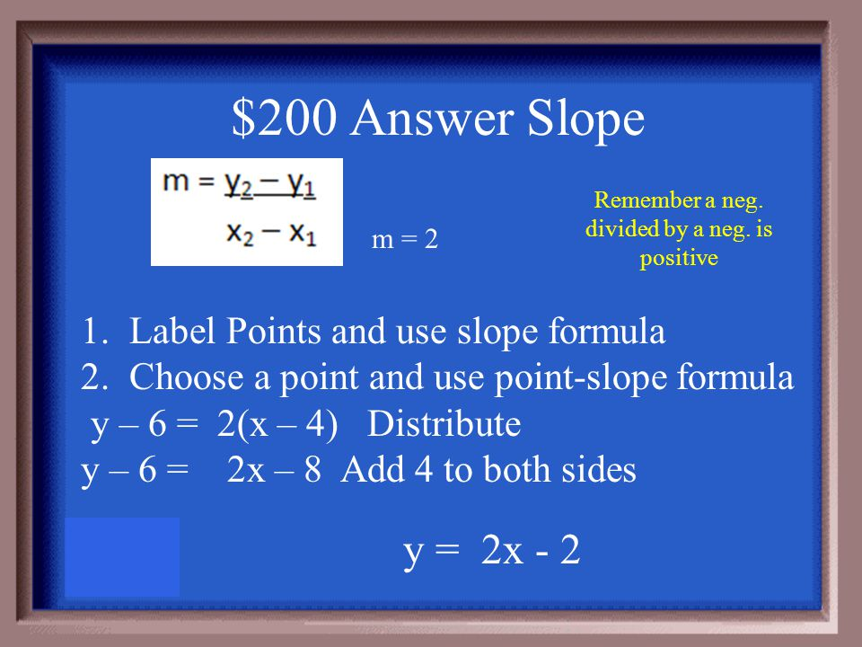 $200 Question Slope Write the equation of the line that passes through each pair of points in slope- intercept form (4,6) and (2, 2)