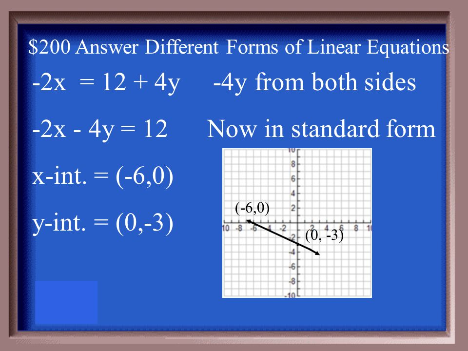 $200 Question Different Forms of Linear Equations Find and use the x and y intercepts to graph the line. -2x = 12 + 4y