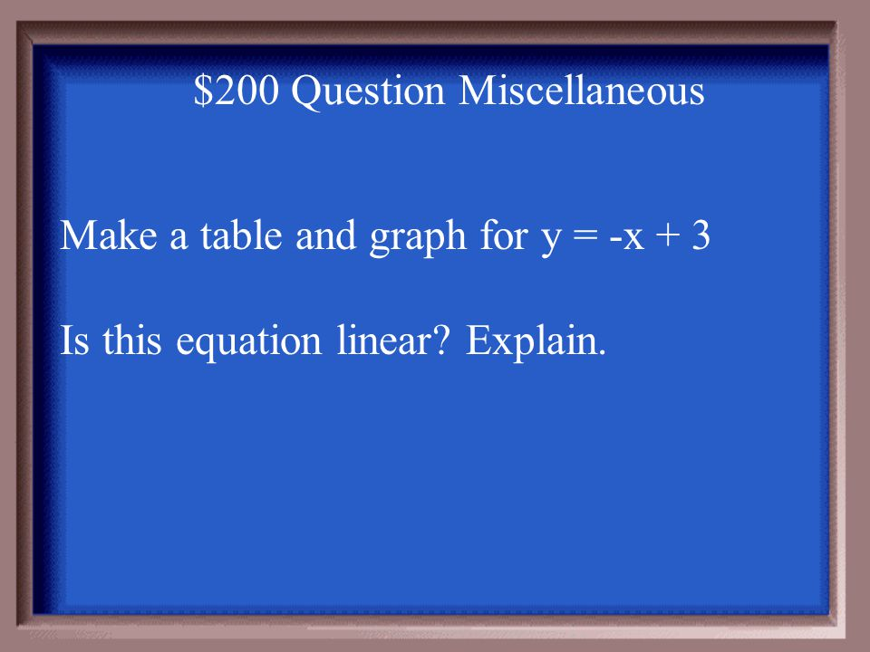 $100 Answer Miscellaneous You can use the ratio to check. 17/2 = 8.5 and 34/4 = 8.5 ratios are = (proportional) so it's a direct variation The equatio