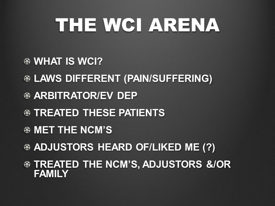 THE WCI ARENA WHAT IS WCI.
