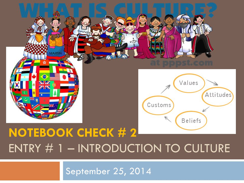 NOTEBOOK CHECK # 2 ENTRY # 1 – INTRODUCTION TO CULTURE September 25, 2014