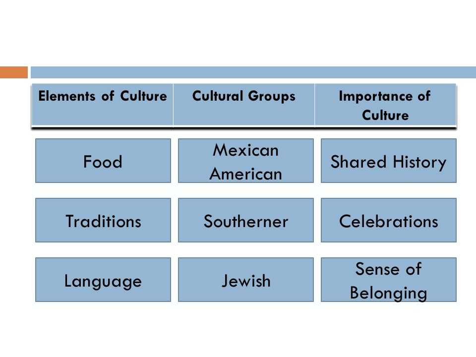 Food Traditions Language Mexican American Southerner Jewish Shared History Celebrations Sense of Belonging