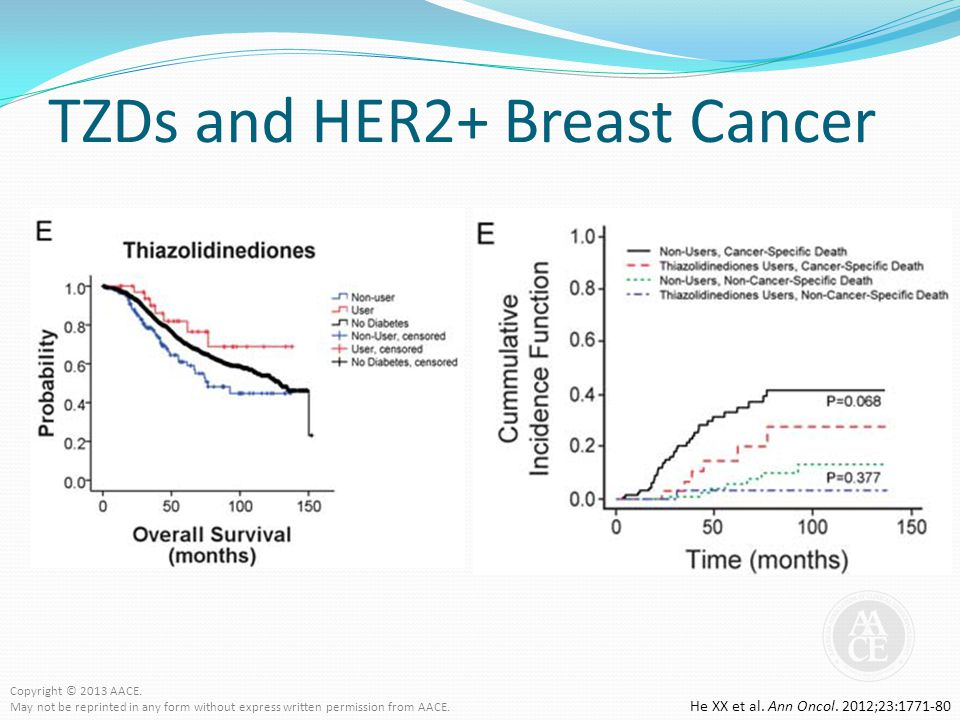 TZDs and HER2+ Breast Cancer He XX et al. Ann Oncol. 2012;23:1771-80 Copyright © 2013 AACE. May not be reprinted in any form without express written p