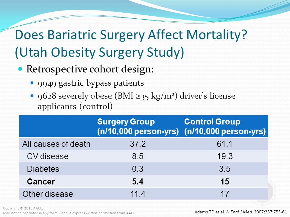 Does Bariatric Surgery Affect Mortality? (Utah Obesity Surgery Study) Retrospective cohort design: 9949 gastric bypass patients 9628 severely obese (B
