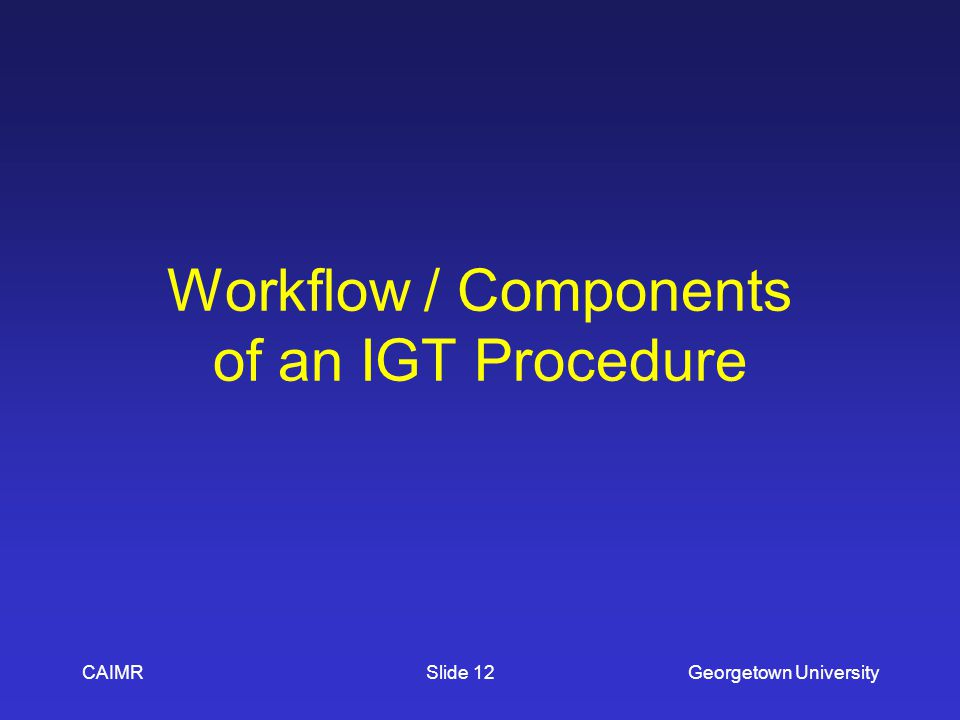 Workflow / Components of an IGT Procedure CAIMRGeorgetown UniversitySlide 12