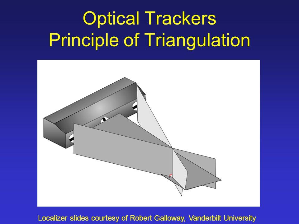 Optical Trackers Principle of Triangulation Localizer slides courtesy of Robert Galloway, Vanderbilt University