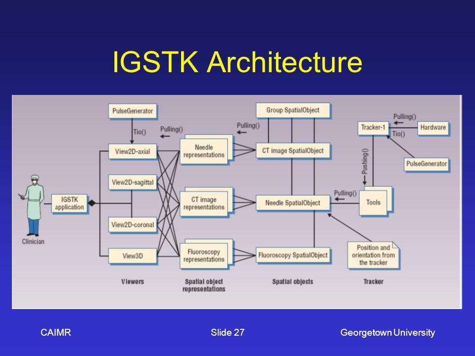 IGSTK Architecture CAIMRGeorgetown UniversitySlide 27