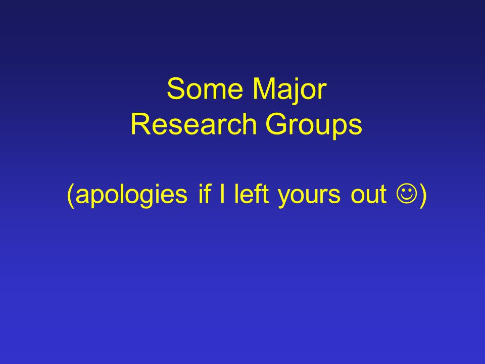Some Major Research Groups (apologies if I left yours out )