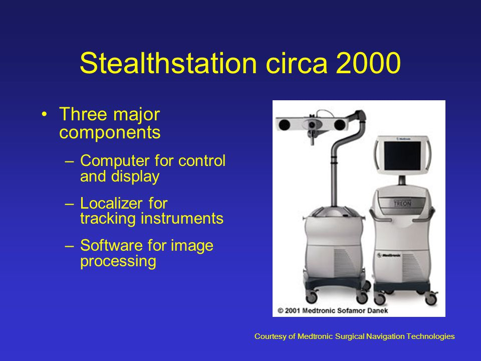 Stealthstation circa 2000 Three major components –Computer for control and display –Localizer for tracking instruments –Software for image processing Courtesy of Medtronic Surgical Navigation Technologies