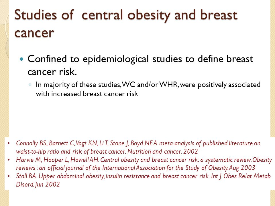 Studies of central obesity and breast cancer Confined to epidemiological studies to define breast cancer risk. ◦ In majority of these studies, WC and/