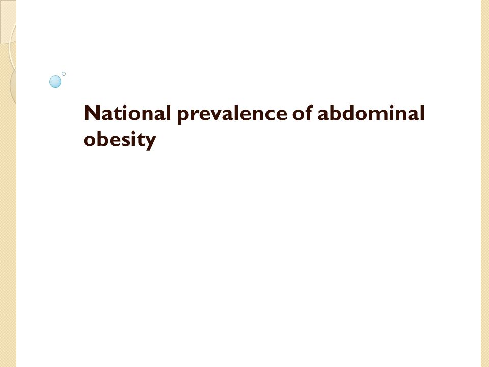 RESEARCH LETTER JAMA September 2014 Trends in Mean Waist Circumference and Abdominal Obesity Among US Adults, 1999-2012 Methods: Data from seven 2-year cycles of the NHANES starting with 1999-2000 and concluding with 2011-2012.