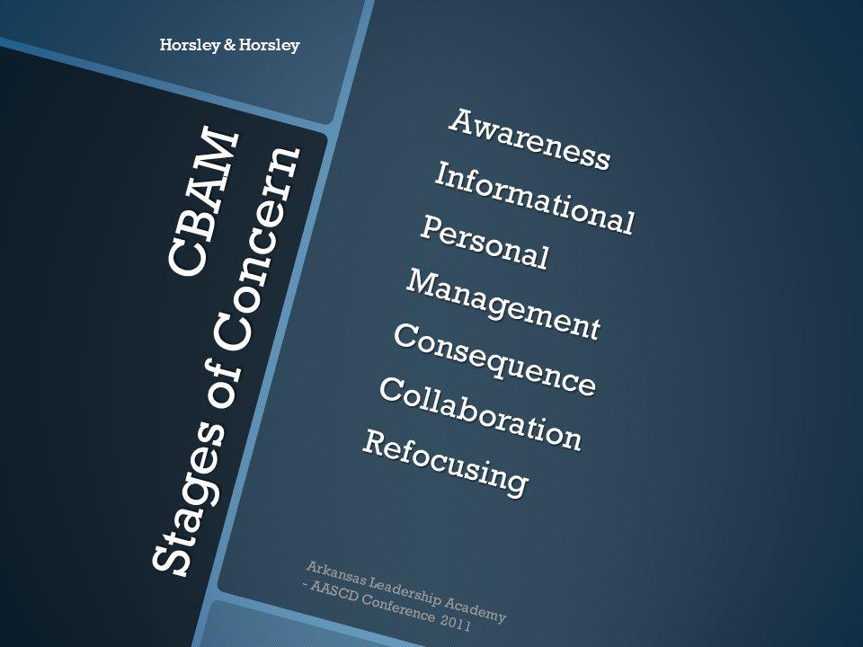 CBAM Stages of Concern AwarenessInformationalPersonalManagementConsequenceCollaborationRefocusing Horsley & Horsley Arkansas Leadership Academy - AASC