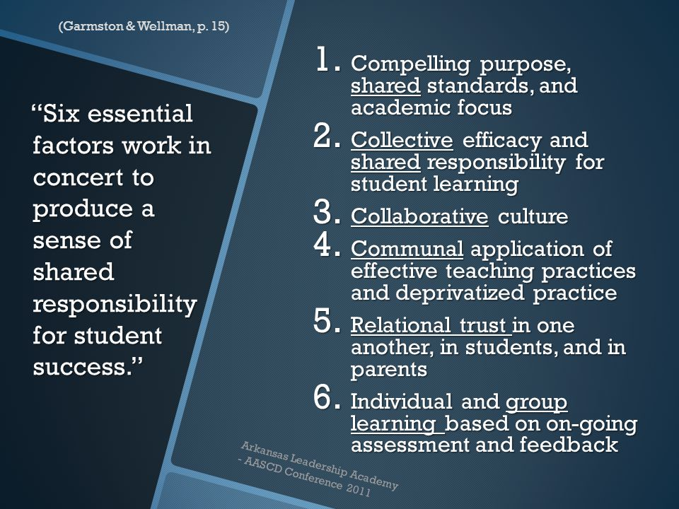 """""""Six essential factors work in concert to produce a sense of shared responsibility for student success."""" """"Six essential factors work in concert to pro"""