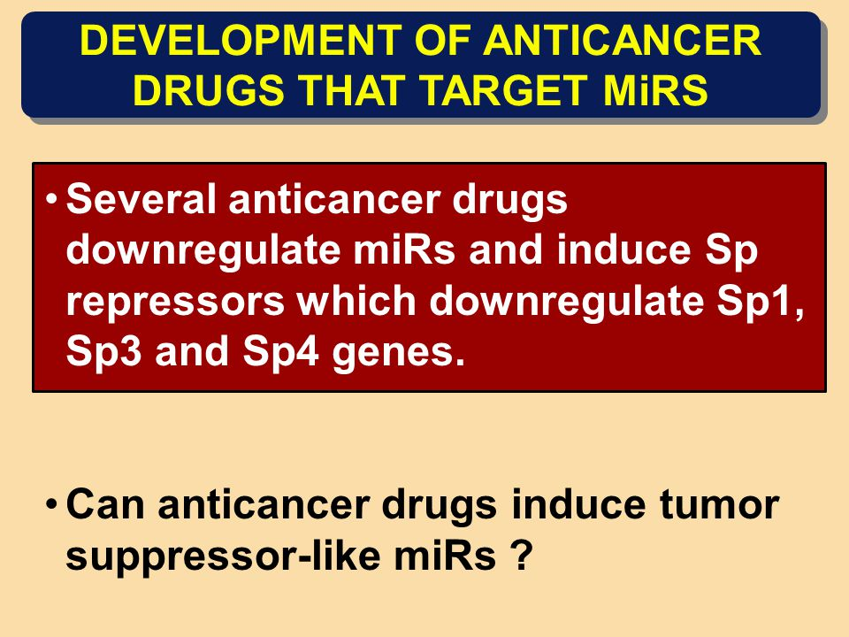 Several anticancer drugs downregulate miRs and induce Sp repressors which downregulate Sp1, Sp3 and Sp4 genes.