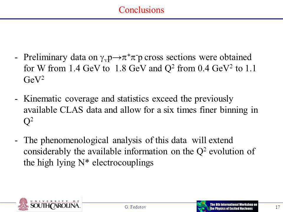 G. Fedotov 17 Conclusions -Preliminary data on  v p →  +  - p cross sections were obtained for W from 1.4 GeV to 1.8 GeV and Q 2 from 0.4 GeV 2 to