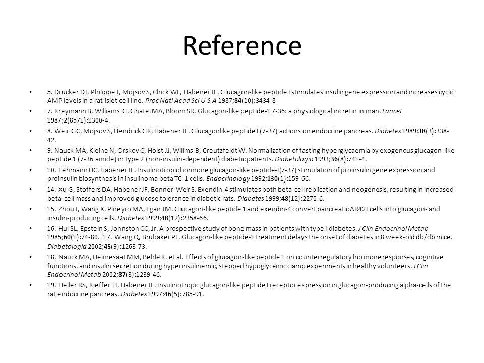 Reference 5. Drucker DJ, Philippe J, Mojsov S, Chick WL, Habener JF. Glucagon-like peptide I stimulates insulin gene expression and increases cyclic A