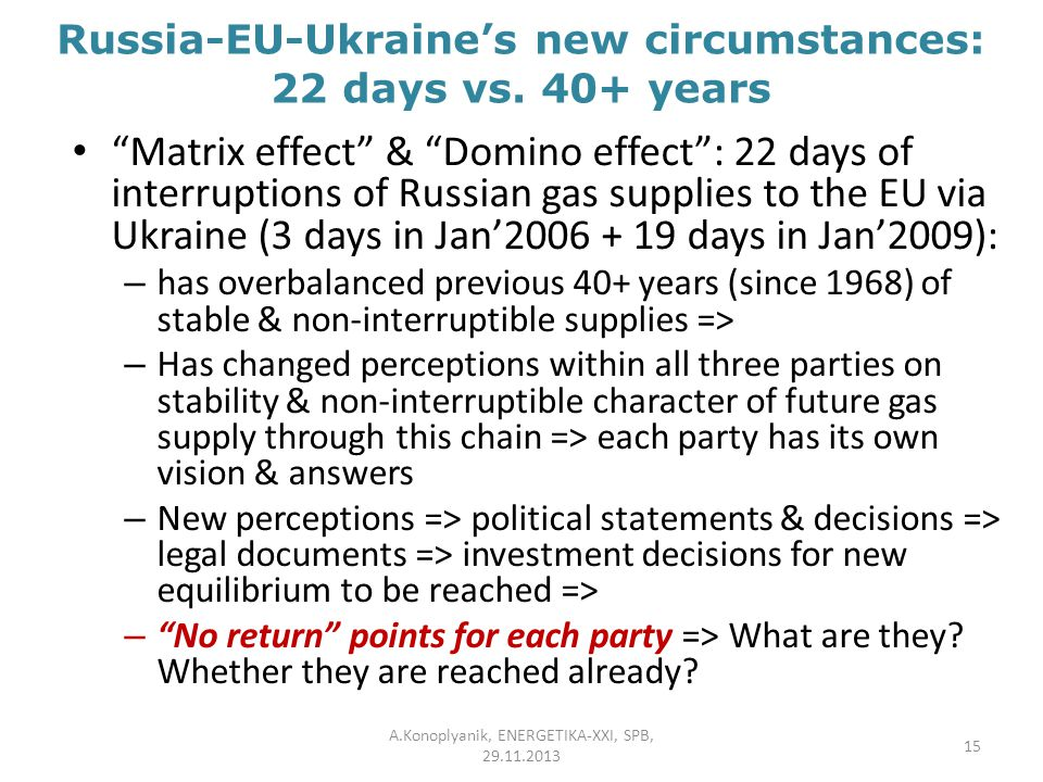 "Russia-EU-Ukraine's new circumstances: 22 days vs. 40+ years ""Matrix effect"" & ""Domino effect"": 22 days of interruptions of Russian gas supplies to th"