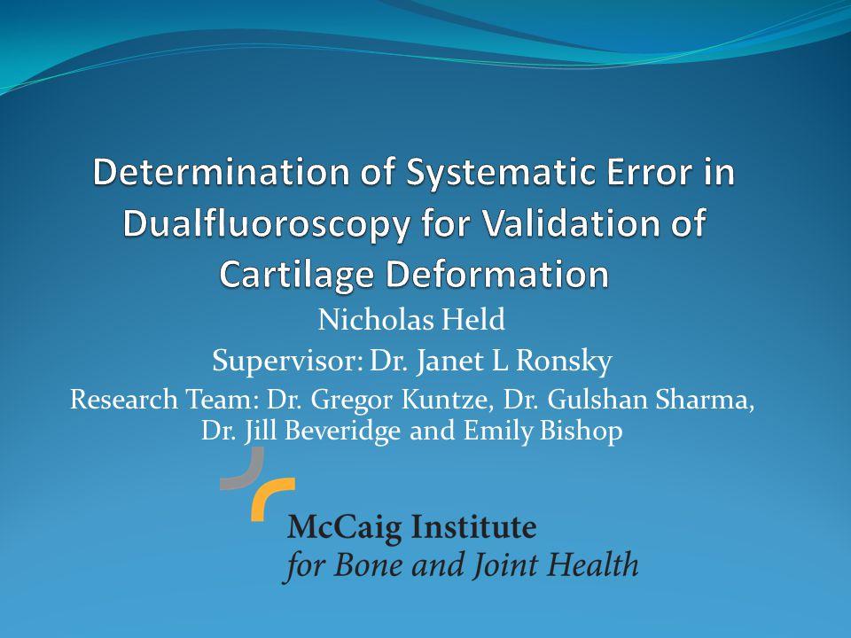 Nicholas Held Supervisor: Dr. Janet L Ronsky Research Team: Dr.